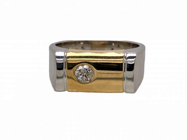 14 KARAT WHITE AND YELLOW GOLD DIAMOND MENS RING by The Hunt House Custom Jewellery