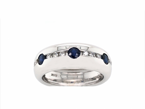 14 KARAT WHITE GOLD DIAMOND AND SAPPHIRE BAND by The Hunt House Custom Jewellery