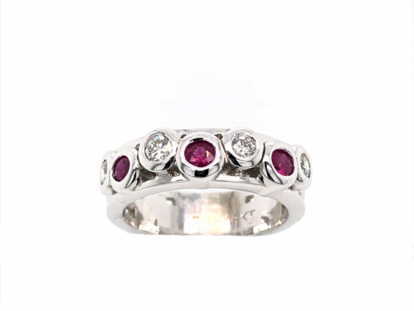 14 KARAT WHITE GOLD DIAMOND AND RUBY BAND by The Hunt House Custom Jewellery