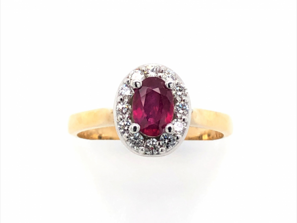 14 KARAT YELLOW GOLD RUBY HALO RING by The Hunt House Custom Jewellery