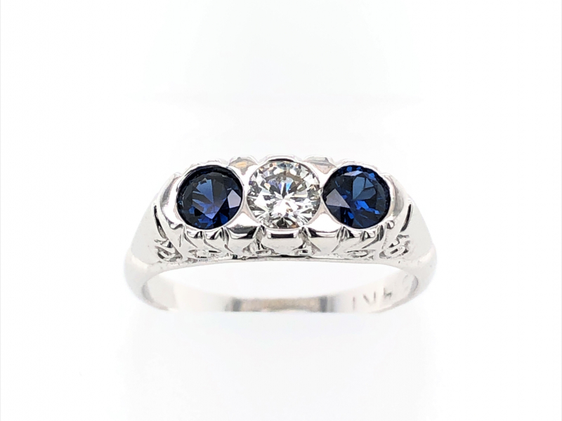 14 KARAT WHITE GOLD DIAMOND AND SAPPHIRE RING by The Hunt House Custom Jewellery