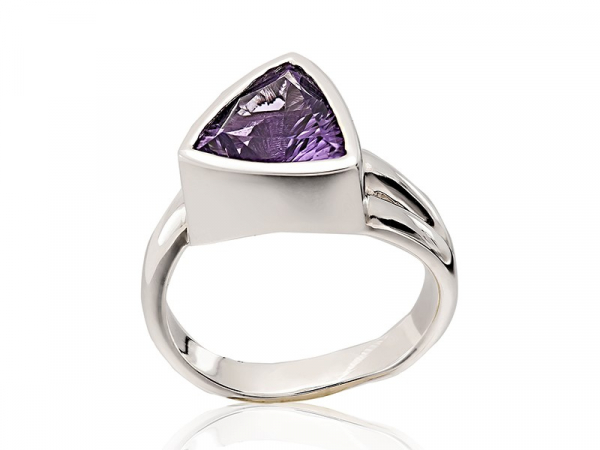 Amethyst Triangle Cut Ring by The Hunt House Custom Jewellery