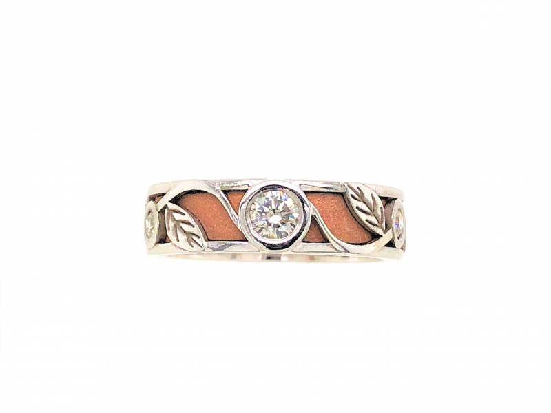 14 KARAT WHITE AND ROSE GOLD DIAMOND RING by The Hunt House Custom Jewellery