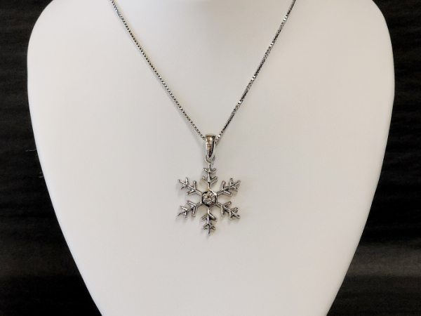 Sterling Silver Snowflake with diamond by The Hunt House Custom Jewellery