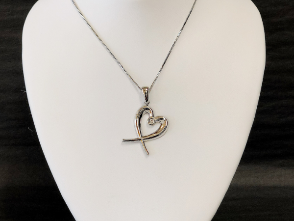 Sterling Silver Heart with Diamond by The Hunt House Custom Jewellery