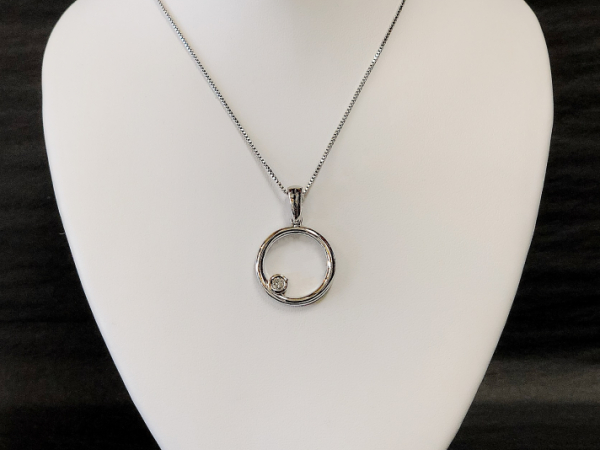 Sterling Silver Circle Pendant with Diamond by The Hunt House Custom Jewellery