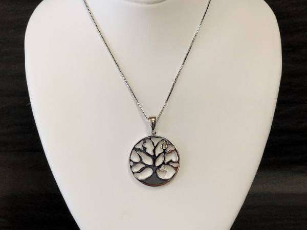 Sterling Silver Tree of Life with Diamond by The Hunt House Custom Jewellery