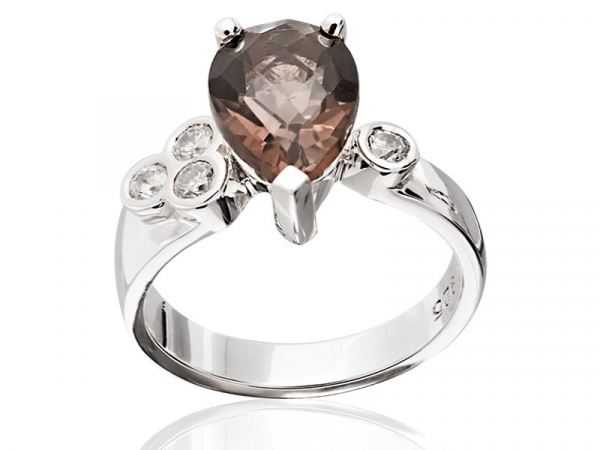 SMOKEY QUARTZ PEAR RING by The Hunt House Custom Jewellery